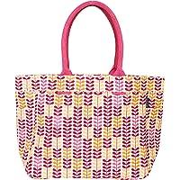 AQVA Printed Cotton Canvas Water Resistant Tote Bag for Women & Men - Reusable Shoulder Bag with Full Top Zipper, Inner…