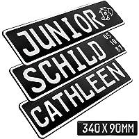 1 Stück Kennzeichen Junior-Schild 34cm x 9cm Bohrung Farbwahl Wunschtext Wunschprägung Muster Datum Namenskennzeichen…