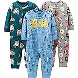 Simple Joys by Carter's 3-Pack Loose Fit Flame Resistant Fleece Footless Pajamas Niños, Pack de 3
