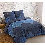 Vision Housse de Couette Harold Blue - 260x240cm avec 2 taies d'oreiller - 100% Coton
