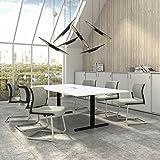 Weber Büro EASY Konferenztisch 240x120 cm Weiß mit ELEKTRIFIZIERUNG Besprechungstisch Tisch, Gestellfarbe:Schwarz