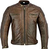 Mens Leather Motorcycle Jacket - Touring Motorbike Jacket With Genuine Biker CE Armour (EN 1621-1) Protection - Texpeed - Qui