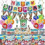 76 piezas Cocomelon fiesta de cumpleaños, banderines triangulares, mantel, decoración de tartas, globos colgantes, tapas para