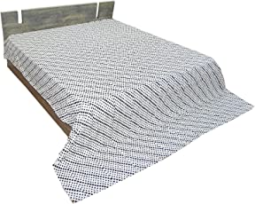 "Bhavya International Handmade Cotton Kantha Bedcover Gudari Blanket Hippie Hobo Multi Color Patchwork Design 90x108"" King Size"