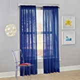 "No. 918 Calypso Sheer Voile Rod Pocket Curtain Panel, 59"" x 84"", Royal Blue, 1 Panel"