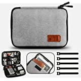 GiBot Cable Organiser Bag, Travel Electronics Accessories Bag Organiser for Cables, Flash disk, USB drive, Charger, Power Bank, Memory Card, Headphone and iPad Mini, Double Layer, Grey