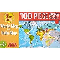 Amazon Brand - Jam & Honey World Map & India Map Puzzle (100 Pieces)