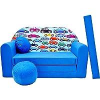 Pro Cosmo C21 Canapé lit pour Enfants avec Pouf/Repose-Pieds/Oreiller, Tissu, Multicolore, 168x 98x 60cm