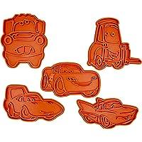 Set di 5 Tagliabiscotti a forma di personaggi di Cars (Saetta, Cricchetto, Sally, Guido, Chick Hicks)