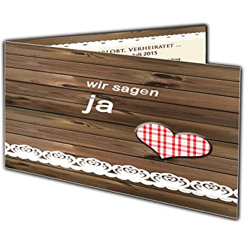 Hochzeitseinladung Rustikal In Holz Optik Mit Spitze