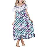 Lovekider Nachthemd Mädchen Einhorn Drucken Nachtwäsche mit Spitze Rüschen Kurzarm Nachtkleider Baumwolle Schlafanzug Langarm