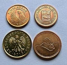 World Coins Iceland Iraq Venezuella & Poland 4 Different UNC Coins for Collection