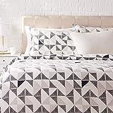 Amazon Basics Parure de lit avec housse de couette en satin, 155 x 200 cm / 50 x 80 cm x 2, Fusion diamant