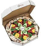 PIZZA SOCKS BOX - Pizza Végétarienne - 4 paires de Chaussettes FANTAISIE Uniques et Originales - CADEAU Drôle en COTON! | pour Fammes et Hommes, Tailles UE: 36-40, 41-46|fabriqué dans l'UE