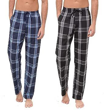 INSIGNIA Mens Poly Cotton Pyjamas Lounge Pants Bottoms Check (2 Pack)
