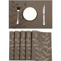 Pauwer Sets de Table Crossweave tissé en Vinyle Set de Table pour Table de Cuisine Résistant à la Chaleur antidérapant…