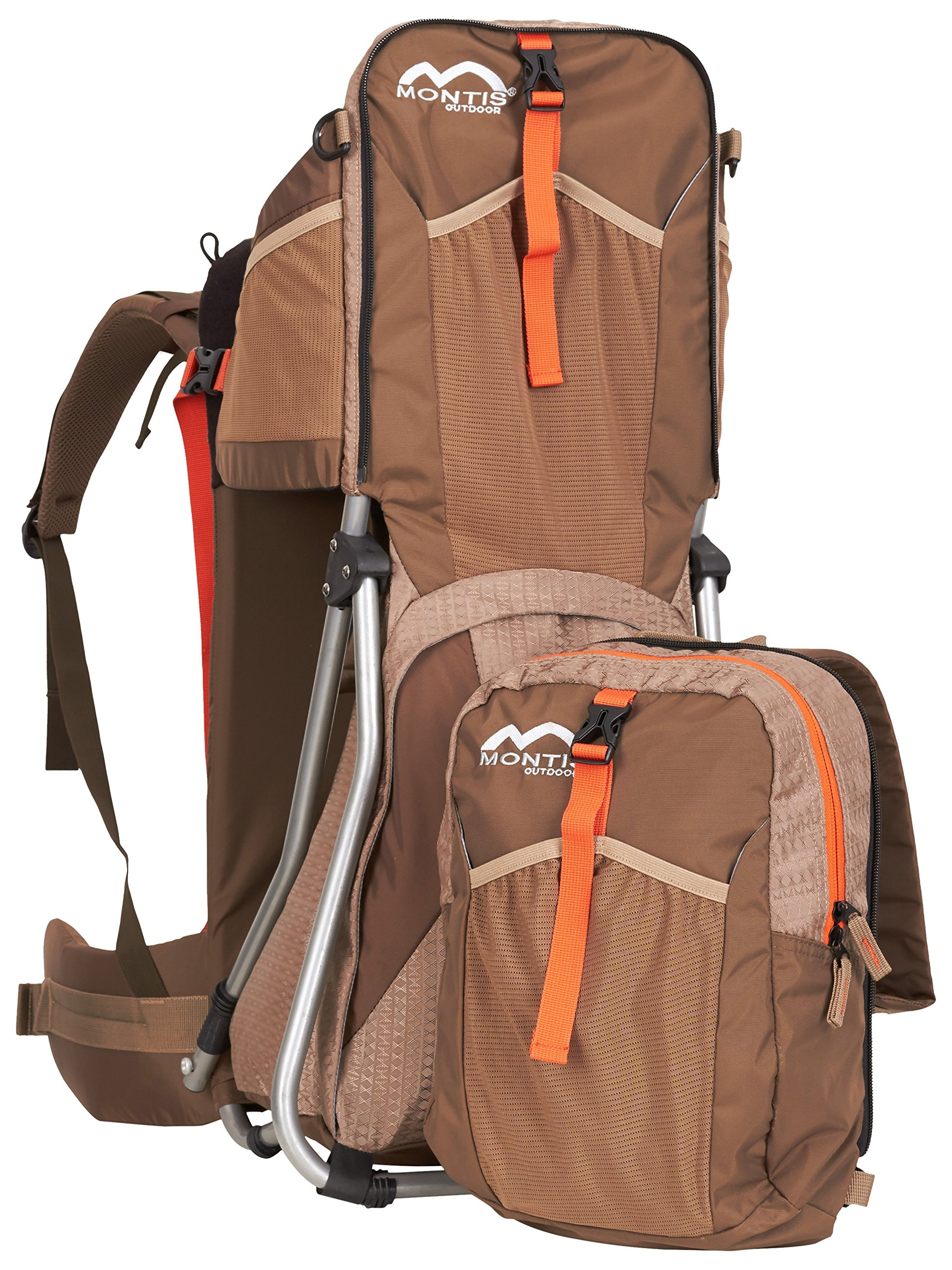 MONTIS HIKE, Premium Back Baby/Child Carrier, Up to 25kg, (mocha) M MONTIS OUTDOOR 89cm high, 37cm wide | up to 25kg | various colours | 28L seat bag Laminated and dirt-repellant outer material | approx. 2.2kg (without extras) Fully-adjustable, padded 5-point child's safety harness | plush lining, raised wind guard, can be filled from both sides | forehead cushion 9