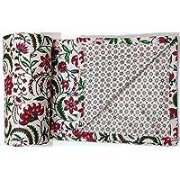 "Trance Home Linen 100% Cotton Malmal Single Dohar 56""X90"" (Red Floral)"