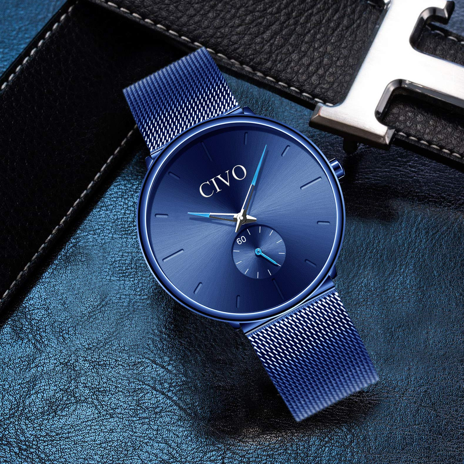 ad30e227cea5 Inicio   Baratos   CIVO Relojes de Hombre Lujo Impermeable Ultra Fino Reloj  de Acero Inoxidable Minimalista Moda ...