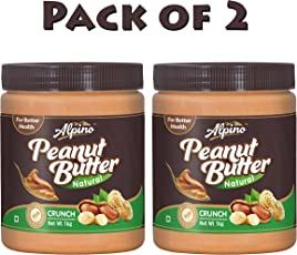 Alpino Natural Peanut Butter Crunch 2kg (Unsweetened) (1kg Pack of 2)