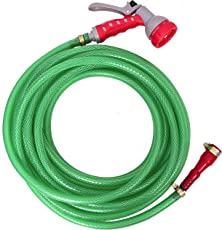 """Dripit™ Braided Garden Hose Pipe (1/2"""" Inch x 10 Meters) with 7-Pattern Rotating Nozzle Spray Gun, with Settings for a Wide Range of uses from Watering Your Plants to Cleaning Your Pets or Car Wash."""
