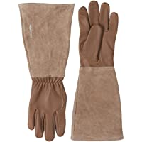 Amazon Basics Leather Gardening Gloves with Forearm Protection, Brown, XS