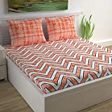 Divine Casa 100% Cotton Double Bedsheet with 2 Pillow Covers, Orange- Abstract