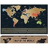 envami Mappa del Mondo da Grattare I 68 X 43 CM I Idee Regalo I mappamondo da grattare con Bandiere I Scratch off Map I Mappa