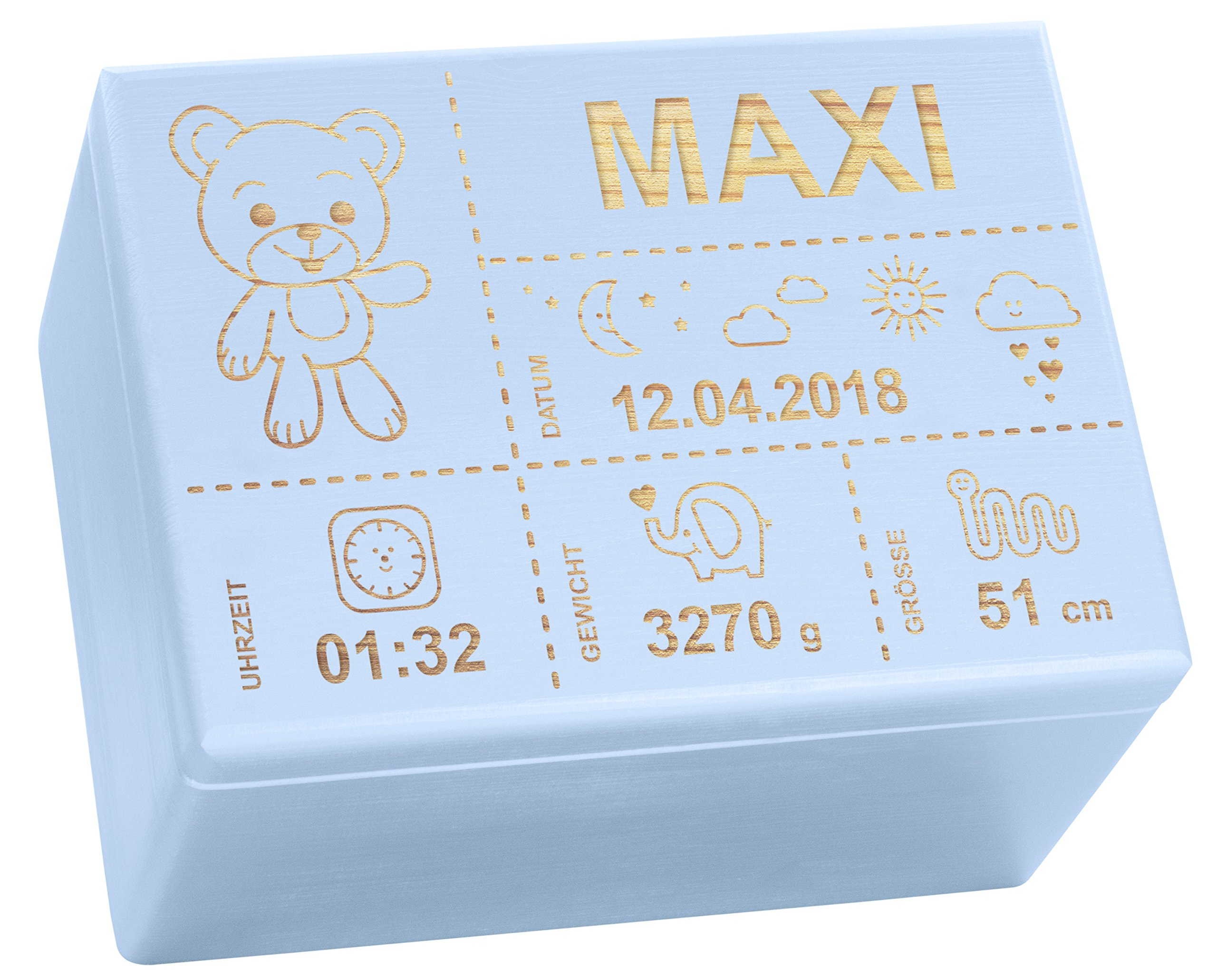 Holzkiste mit Gravur - Personalisiert mit ❤️ GEBURTSDATEN ❤️ - Blau Größe XL - Teddybär Motiv - Erinnerungskiste als Geschenk zur Geburt - LAUBLUST® 12