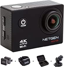 NETGEN Action Camera 16 MP 4k WiFi Ultra HD Waterproof with 25 Accessories Including Car Mount, Carry Bag, Control Watch, 2 Batteries