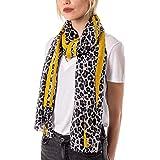 StyleSlice Leopard Print Scarf for Women Ladies Animal Print Scarves-Long Neck Scarf Mustard Red black leopard print scarf -
