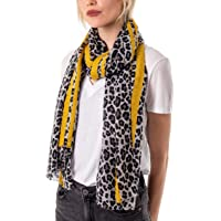Style Slice Leopard Print Scarf for Women Ladies Animal Print Scarves-Long Neck Scarf Mustard Red black leopard print…