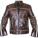 Red Smoke Vintage Cafe Racer Retro Distressed Brown White Stripes Biker Leather Jacket