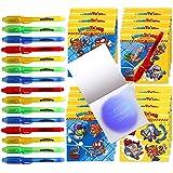 BONNYCO SuperThings Secret Spies - Detalles Cumpleaños Niños, Boligrafo Tinta Invisible y Libreta Pack x 16 | Regalos Cumplea