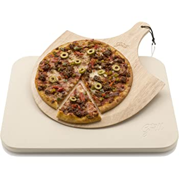 Pizza Stone Hans Grill Pizza Baking Stone For Oven and BBQ With Wooden Pizza Peel Board | Durable, Thick & Genuine Wood, Rectangular, Easy To Handle | Bake, Grill &Serve | For Pies, Pastry, Cakes, Cookies, Bread, Calzone & More