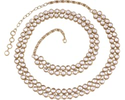 I Jewels Traditional Gold Plated Kundan Kamarband for Women (B016)(White)