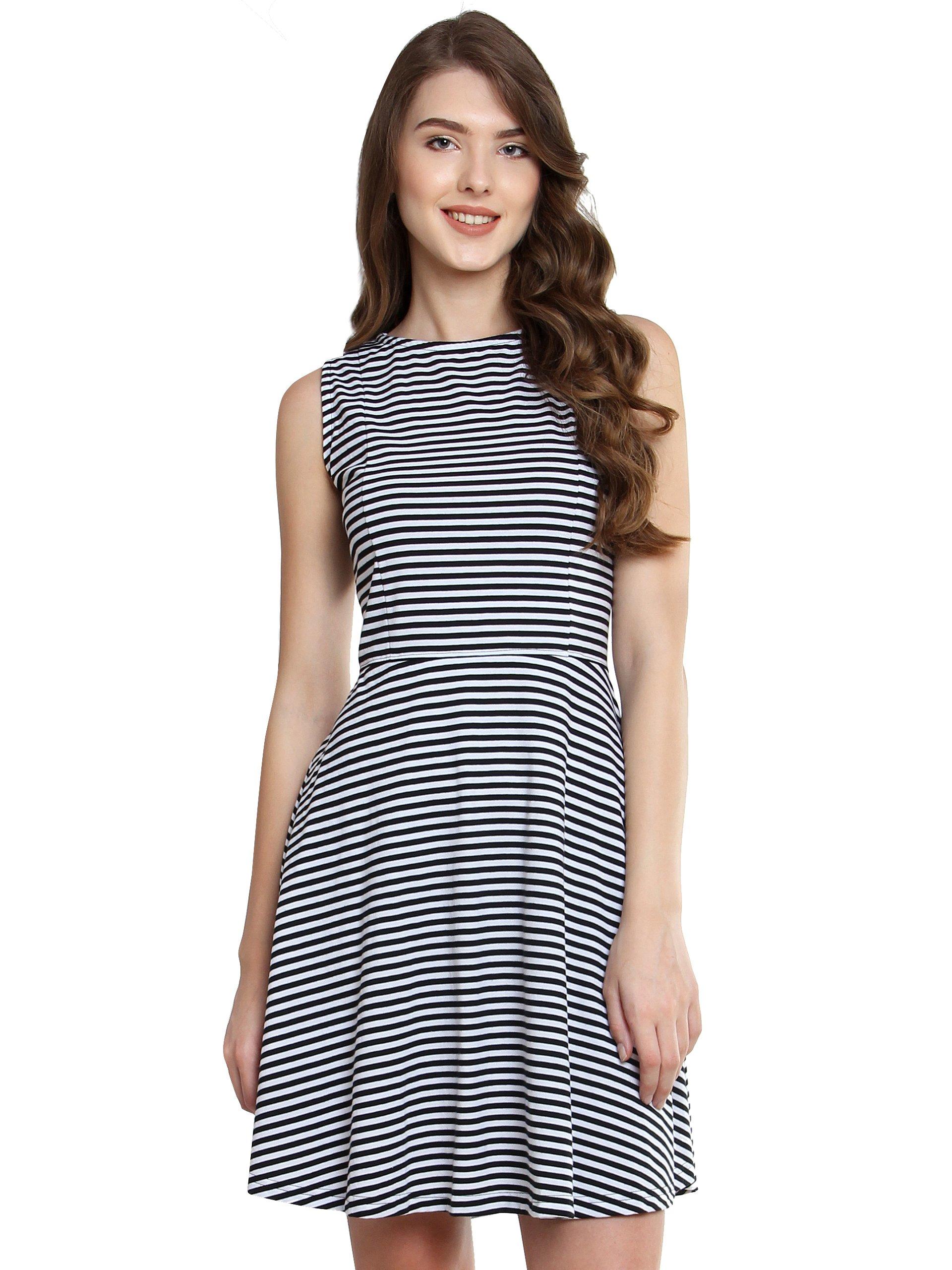Miss Chase Women s Black and White Striped Skater Dress - Gia Designer 94ccc63f6