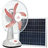 d.light SF20 Rechargeable Fan with 16W Solar Panel Works for Home and Outdoors (Light Grey)