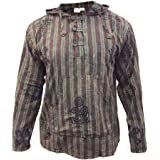 SHOPOHOLIC FASHION Mens Stonewashed Striped Hooded Hippy Grandad Shirt