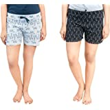 Club A9 Women's Cotton Printed Regular Shorts - Pack of 2 (White & Black)