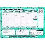 Febio Planner Settimanale da Scrivania - Strappo in Alto e Colla Anti Orecchie - 43x30 Verde Acqua