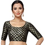 STUDIO Shringaar Women's Satin Zari Brocade Stitched Saree Blouse.