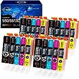 20 Uniwork 550XL 551XL Cartouches d'encre Compatibles pour Canon PGI-550 CLI-551 pour Canon iX6850 iP7250 MG5450 iP8750 MG755