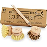 Eco Friendly Washing Up Scrubbing Brush | 3 Replacement Heads | Soft & Hard Bristles | Plastic Free Wooden Kitchen…