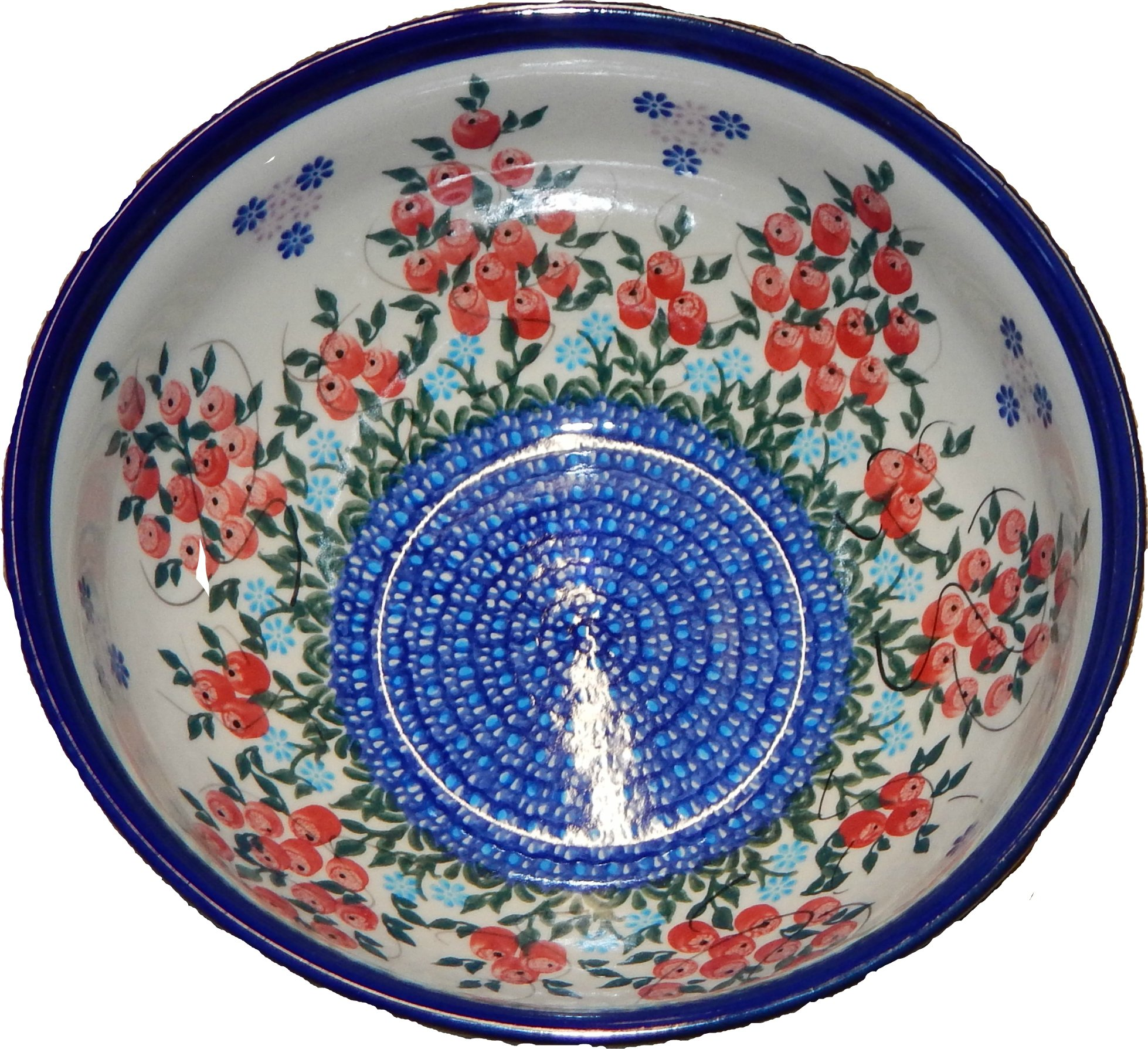 Polish Pottery Ceramika Boleslawiec 0410/282 Royal Blue Patterns 5-1/4-Cup Bowl, Red Berries and Daisies