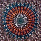 momomus Mandala Wandteppich - Großes Mandala Strandtuch - Pareo Tuch groß - 100% Baumwolle, Indian, Hippie, Boho, Bohemian (B