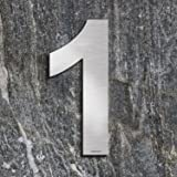Qoboob® roestvrijstalen huisnummers 1 Een straatnummer fijn geborsteld zilver 200mm (1 stuks)