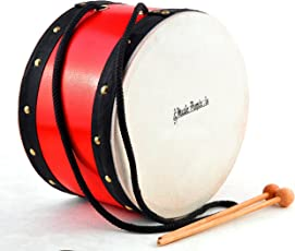 Music People Big Wooden Play Drum with Strikers (Red)