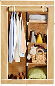 Amazon Brand - Solimo 2-Door Foldable Wardrobe, 5 Racks, Beige