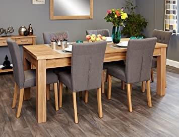 baumhaus extending mobel oak dining table and six chairs slate grey flare back chair baumhaus mobel extending oak dining